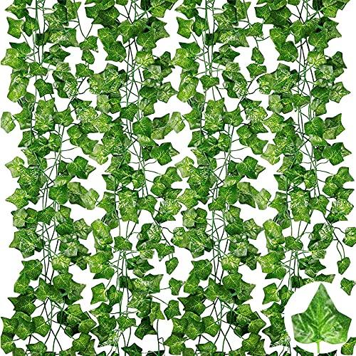 12 Pièces Couronne de Lierre Artificiel Vert Plante Artificielle Plante Suspendue Lierre Artificiel Faux Lierre Convient pour Le Mariage, la Fête, la Décoration Intérieure et Extérieure