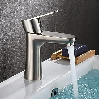 Robinet mitigeur de salle de bain en acier inoxydable + 2 tuyaux d'eau chaude et froide