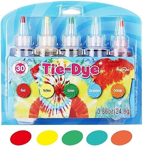 Kit Tie Dye, 5 Colores de Tela Textil Camisas Pinturas, Colores Vibrantes y Brillantes Tie Dye Designs Ropa, Pintura Permanente para Suministros ...