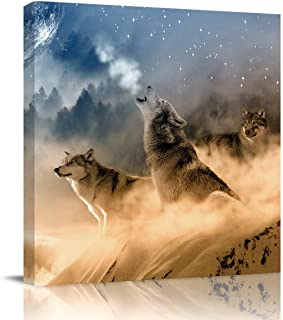 T&H XHome Canvas Wall Art Prints-3D Wolf is Roaring Printing Framed Picture Photo Painting Giclee Artwork Modern Gallery H...