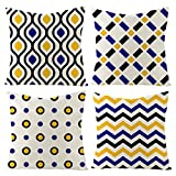 Yellow and Navy Geometry Throw Pillow Covers Pack of 4 Couch Cushion Covers Cotton Linen Decorative Pillow Case for Living Room,Sofa,Bed and Car 18x18Inch (Yellow Navy-G)