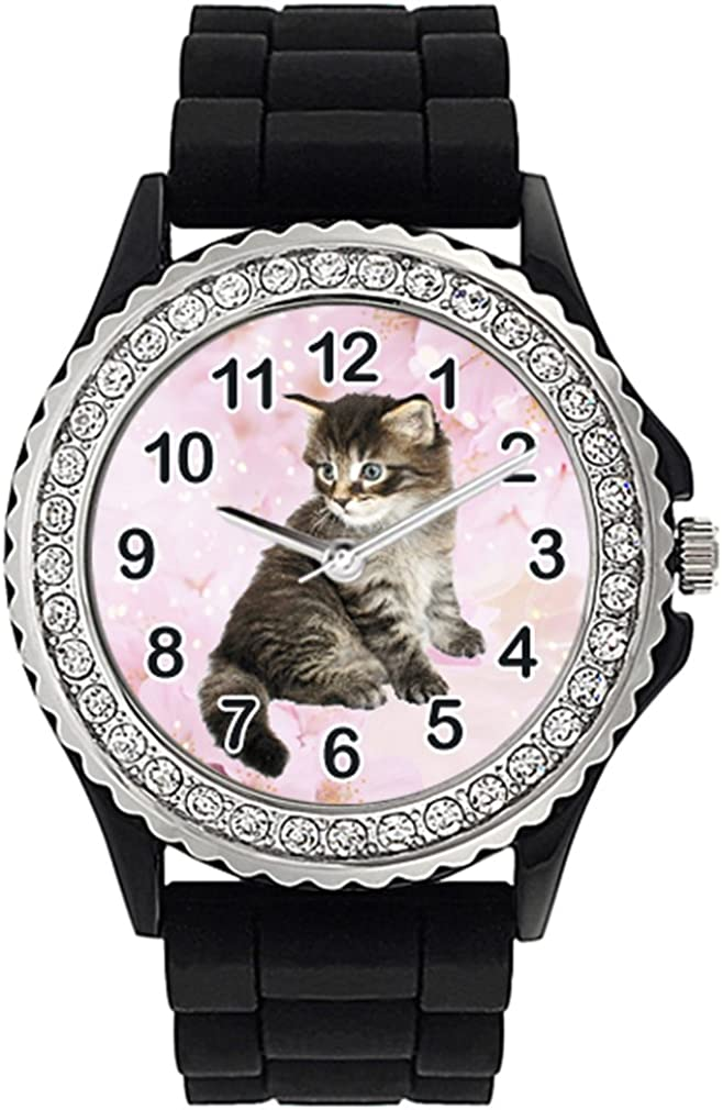 Timest - Maine Spasm All items in the store price Coon Cat Womens Crystal Silicone Wri Rhinestone