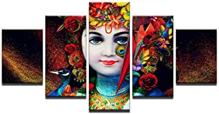HNFSCLUB 5 pcs HD Print Lord Ganesha Krishna Painting Canvas Wall Art Picture Living Room Decor Painting Home Decor No Frame(1mX2m)