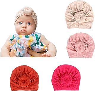Richaa 4 pcs Gorro Bebé Sombrero de Punto, Niños Sombrero Beanie Gorras Cabeza Elástica algodón Turbante Bebe Vinchas
