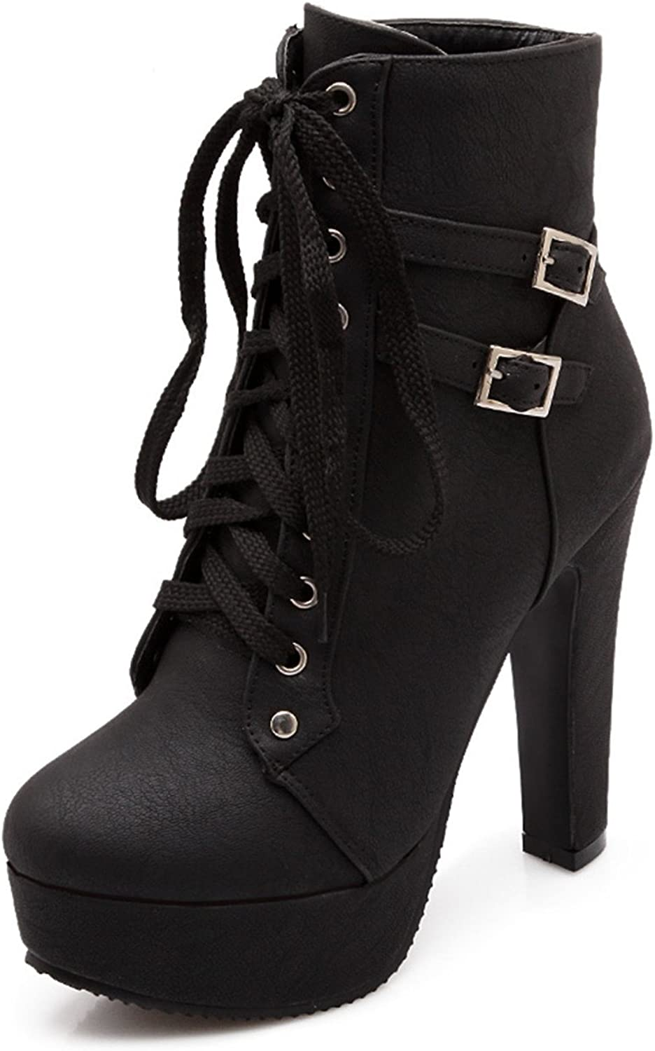 100FIXEO Women Sexy Platform High Heels Lace-Up Buckle Strap Ankle Boots