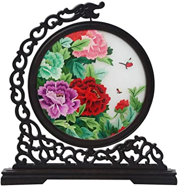 SXYD Handmade Double Sided Embroidery Flower Screens Desktop Decoration Chinese Style TV Cabinet Creative Wooden Art Decorative