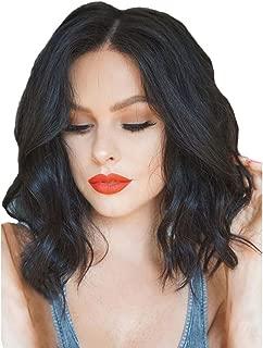 Feternal Women Lace Front Wig Wavy Synthetic Brazilian Short Bob Curly Black Wigs