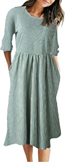Women's 3/4 Balloon Sleeve Striped High Waist T Shirt Midi Dress with Pockets