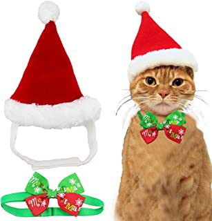 Wiz BBQT Adorable Cute Cat Dog Christmas Santa Hat and Bow Tie Collar for Cats Kitten Puppy Small Pets, Red and White