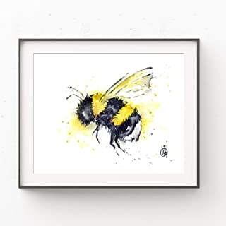 Bee Painting Art Print by Whitehouse Art | Woodland Nursery, Baby Room Decor, Playroom Decor | Professional Print of Honey Bee Original Watercolor | Baby Shower Gifts | 2 Sizes