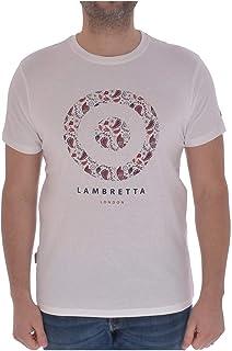 Lambretta Mens Paisley Target Cotton Short Sleeve T-Shirt Top Tee - White - S