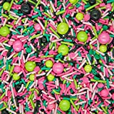 Sprinkles for Cake, Cookie, Cupcake Decorating, and Baking - Fancy Edible Cake Sprinkles and Toppings in Light Pink Jimmies, Pink Nonpareils, Lime Sugar Crystal, Black Sugar Pearl Sprinkles for Donuts