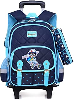 XHHWZB Bacpack, Boys Backpack with Wheels School Bags Rolling Bookbags Kids Wheeled Backpack for School