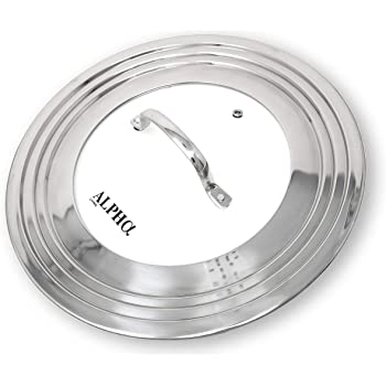 """Alpha Living 7"""" to 12"""" High Grade Stainless Steel and Glass Universal, Fits All Pots, Replacement Frying Pan Cover and Skillet Lids, 7-12 inches"""