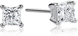 IGI Certified Platinum Princess Diamond Stud Earrings (1/4 - 2 cttw, G-H Color, VS2 Clarity)