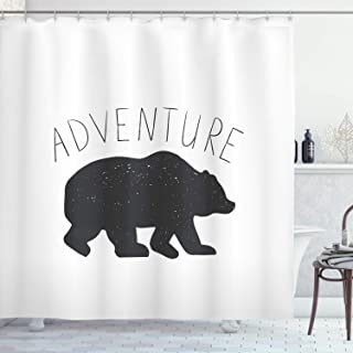 Ambesonne Adventure Shower Curtain, Black Silhouette of a Wild Bear Zoo Animal Nature Passion Hipster Design, Cloth Fabric Bathroom Decor Set with Hooks, 70