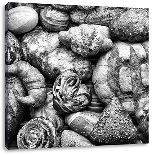 Brood en broodjesCanvas Foto Plein   Maat: 60x60 cm   Wanddecoraties   Kunstdruk   Volledig gemonteerd