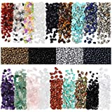 Natural Chip Stone Beads for Jewelry Making Kit-420 Pieces Multicolor Irregular Crystal Gemstones (5-8mm) - 2000 Pieces Seed Beads (3mm) - 7 Chakra Healing Fun DIY Kit for Necklace Bracelet Crafting