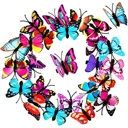 24 Pièces Pinces à Cheveux de Papillon Barrettes de Papillons Colorées 3D Pinces à Cheveux de Papillon d'De noël pour Faveurs de Fête de Femmes