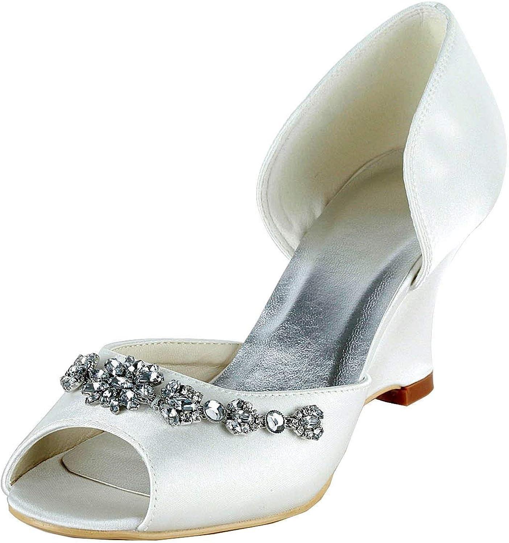 ZHRUI GYMZ651 GYMZ651 GYMZ651 damen Open Toe Stiletto Satin Wedge Braut Hochzeit Schuhe (Farbe   Ivory-9cm Heel, Größe   3 UK)  eec1e6