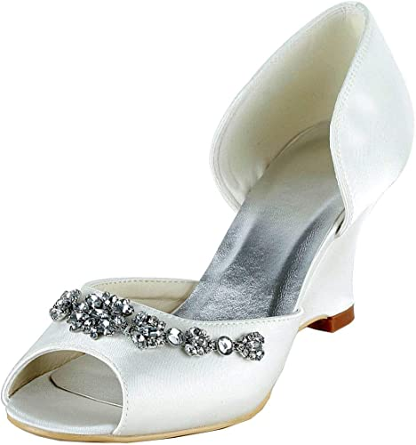 ZHRUI GYMZ651 mujeres Open Toe Stiletto Heel Satin Wedge zapatos de Boda Nupcial (Color   Ivory-9cm Heel, tamaño   4.5 UK)