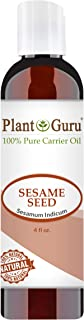 Sesame Seed Oil 4 oz Cold Pressed Carrier 100% Pure Natural For Skin, Body, Face, and Hair Growth Moisturizer. Great For Creams, Lotions, Lip balm and Soap Making