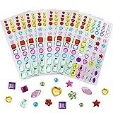 JPSOR 544pcs 8 Sheets Self-Adhesive Rhinestone Sticker Bling Craft Jewels Crystal Gem Stickers, Assorted Size