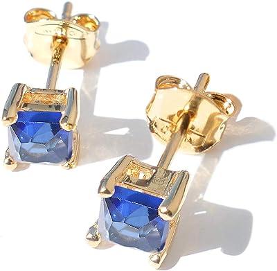 Ah. Jewellery élégant Saphir carré Clous. dorées remplies. UK Garantie: 3µ/10ans. Faux diamants. pièce à avoir des bijoux. Sensational Finition.