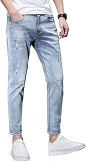 Stretchjeans voor heren, Zomer Vintage Ripped Hole Tapered Jeans, Wash Work Gerafelde Rits Broek Basic Broek