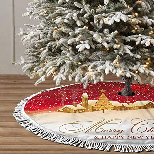 Christmas Tree Skirt, 48 inches Christmas Decoration Fringed Lace (Merry Christmas) for Christmas Decorations for Xmas Party and Holiday Decorations