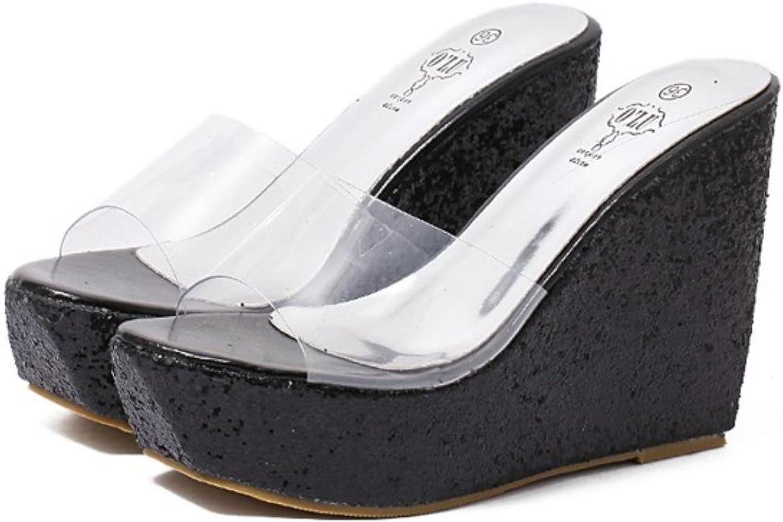 Hongyi Transparent Clear Crystal Sequins Platform Wedge Thick Sole Sandal