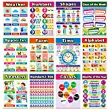 Preschool Poster for Toddlers Wall,Home Schooling Materials for Pre-k,Baby to 3rd Grade Kids,Kindergarten, Daycares, Classroom, Homeschool Teachers -Incl Fruit,Season,Alphabet,Colors, Shapes,and More (12pieces, English Style)