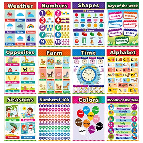 Educational Posters for Kindergarten Preschool Learning Posters Laminated Learning Charts for Toddlers Elementary Posters for Classroom School Supplies Includes Numbers Time 12 Pack A