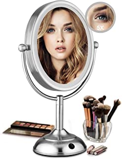"Lighted Makeup Mirror - 8"" LED Vanity Mirror with Natural LED Light, 1X/5X Magnification, Double Sided Lighted Vanity Makeup Mirror, 360 Degree Rotation, Battery Operated/AC Adapter"