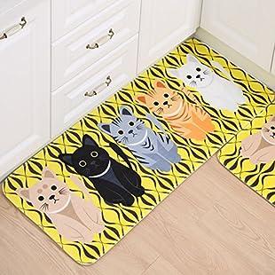 Essort Carpet Kitchen Rugs, Non-Slip Area Rugs Rubber Backing Animal pattern Flannel Mat For Kitchen Living Room Bathroom Baby Children's Room yellow Cat 50x120cm:Savelaguasia