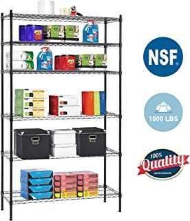 6 Shelf Wire Shelving Unit Heavy Duty Metal Storage Shelves NSF Wire Shelf Organizer Black Height Adjustable Utility Rolling Steel Commercial Grade Layer Shelf Rack 1500 LBS Capacity-16x42x72