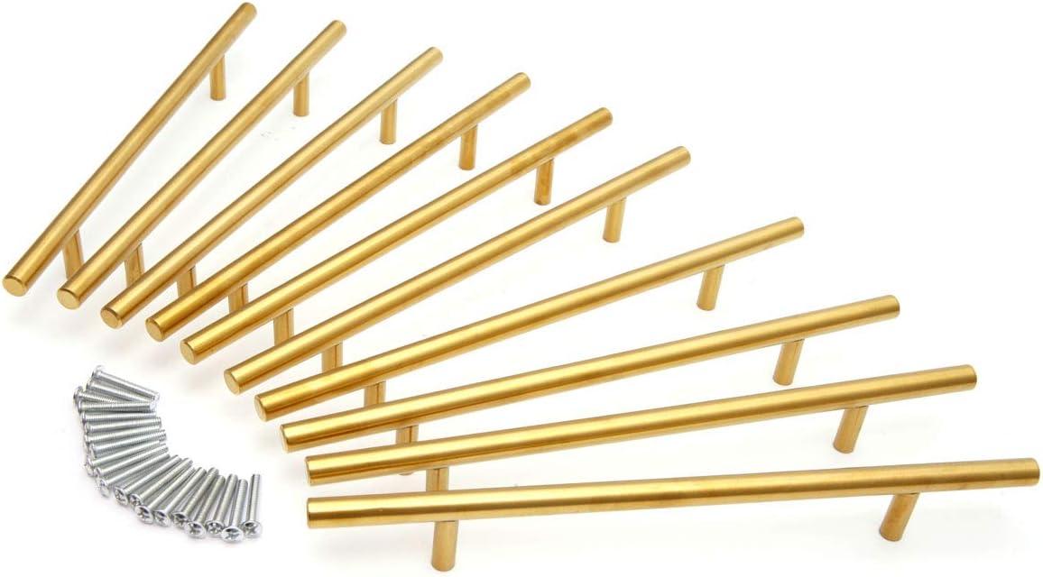Tirador Manija de Acero Inoxidable Tirador de Barra para Cocinas Armarios 96mm, Oro Cajones 10 x Manija en Forma de T Muebles