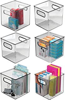 """mDesign Plastic Home Office Storage Organizer Container with Handles - for Cabinets, Drawers, Desks, Workspace - Holds Pens, Pencils, Highlighters, Notebooks - 6"""" Cube, 6 Pack - Smoke Gray photo"""