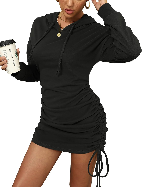 Chriselda Women Casual Long Sleeve Hoodies Pullover Sweatshirts Ruched Side Drawstring Solid Hooded Short Dress