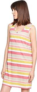 Rösch Smart Casual 1213025-11874 Women's Ringlet Multicolor Striped Cotton Nightdress