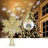 ROTEK Topper de rbol de Navidad de Hierro Forjado, 3D Brillantina Luces de Primeros de Proyector de Copo de Nieve, El Polvo de Purpurina no Caer, 3D Iluminados Copo de Nieve Luz Decoracin(Dorado)