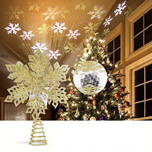 ROTEK 3D Weihnachtsbaumspitze Stern, Schmiedeeisen Weihnachtsbaum Topper mit LED Projektor, Schneeflocke Form Weihnachtsbaum Top Projektor, Christbaumspitze Drehen Schneeflocke für Dekoration(Golden)