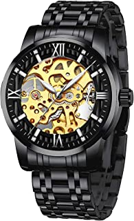 Mens Mechanical Wrist Watches Classic Skeleton Automatic Watch for Men Waterproof Stainless Steel Rome Number Clock, Self ...