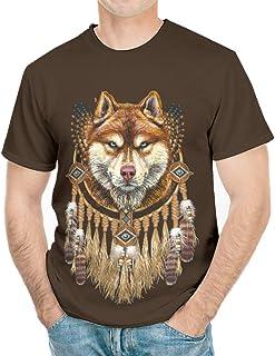 Wmeyiseyiy Camiseta clásica con estampado de lobo de atrapasueños para hombre