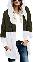 Sanyyanlsy Women's Contrast Winter Color Open Front Cardigan Oversized Plush Hooded Coat Draped Outwear Tops with Pocket