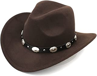 Womem Men Wool Blend Western Cowboy Hat Wide Brim Cowgirl Jazz Cap Leather Band