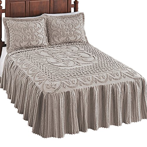 Pristine Scroll and Lattice Chenille Bedspread Navy King