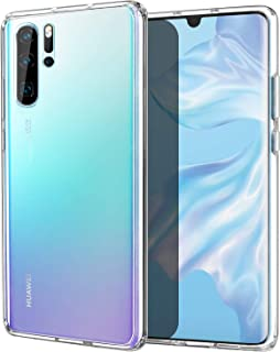 MoKo Compatible with Huawei P30 Pro Case, Slim Anti-Scratch Hard PC Backplate + TPU Bumper Shock Absorption Hybrid Anti-yellow Cellphone Cover Shell Fit with Huawei P30 Pro - Crystal Clear