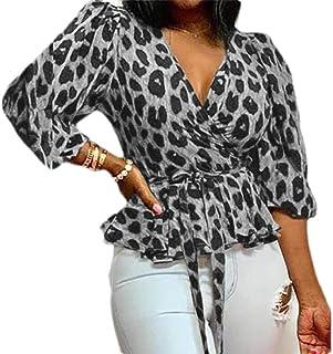 GUOCAI Women's Long Sleeve Leopard Print Tops V-Neck Wrap Shirts Blouse