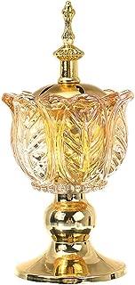 Alexsix Arabian Crystal Incense Holder, for Bakhoor Oud Incense Sticks Cones Home Desk Crafts, Luxury Globe Crystal Burners for Office & Home Decor(Golden)